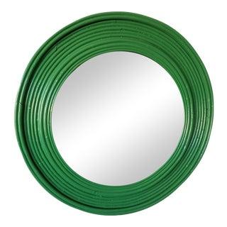 Round Green Glossy Rattan Mirror