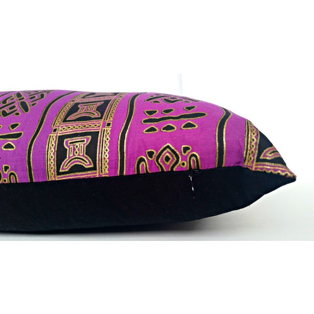 Purple Gold African Print Fabric Lumbar Pillow - Image 2 of 2