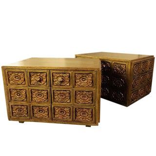 Carved Floral & Gold Side Tables - A Pair