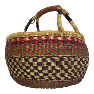 Hand Woven Natural Grass Basket From Ghana