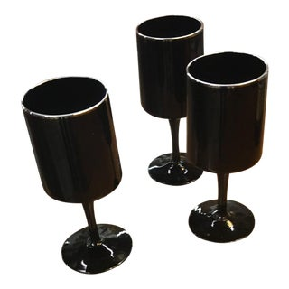 Modern Black & Silver Wine Glasses - Set of 3