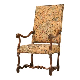 Antique French Os De Mouton Solid Oak Throne Chair