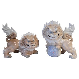 Porcelain Foo Dogs by Yoshimi - A Pair