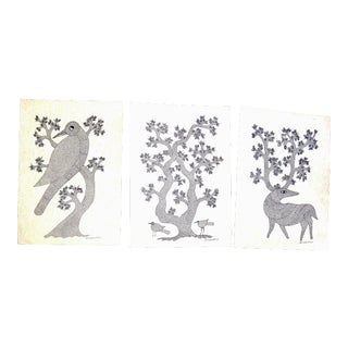 Indian Contemporary Tribal Black Gond Ink on Paper Paintings- Set of 3
