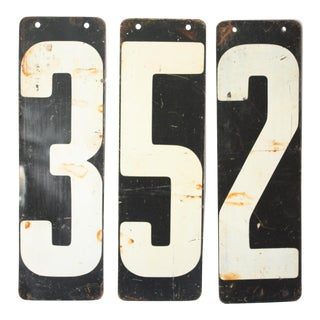 Vintage Metal Number Signs - Set of 3