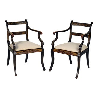 1820s Ebonized English Regency Armchairs - A Pair