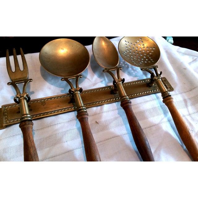 Antique italian brass wood kitchen utensil set chairish for Italian kitchen set