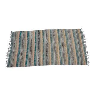 "Swedish Vintage Handwoven Rag Rug -- 3'7"" x 7'2"""