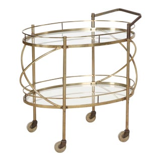 Vintage 1960's Brass and Glass Drink Server Bar Cart Trolley