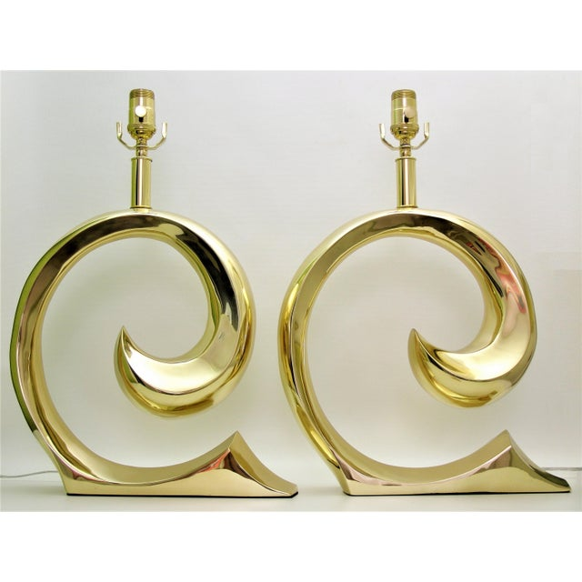 Restored Pierre Cardin Mid-Century Modern Solid Brass Logo Designer Lamps - a Pair Millennial - Image 2 of 11