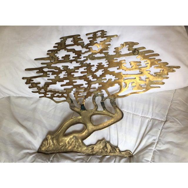 Mid-Century Asian Brass Bonsai Tree - Sculptural Wall Art - Image 5 of 6