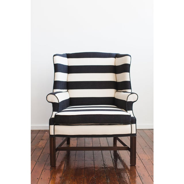 large upholstered black and white striped chair chairish. Black Bedroom Furniture Sets. Home Design Ideas