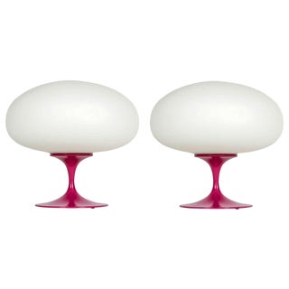 Pair of Fuschia Lacquered Lamps by Bill Curry for Laurel