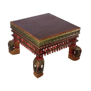 Wooden Carved Hand Painted Side Table Peacock Legs