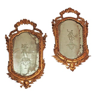 Pair of 18th Century Etched Venetian Mirrors