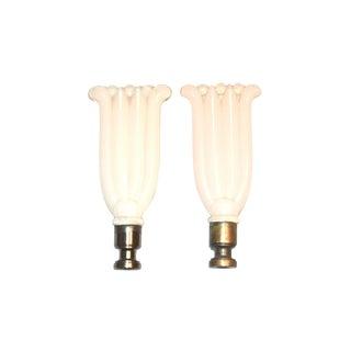 Aladdin Opalescent Glass Finials - A Pair