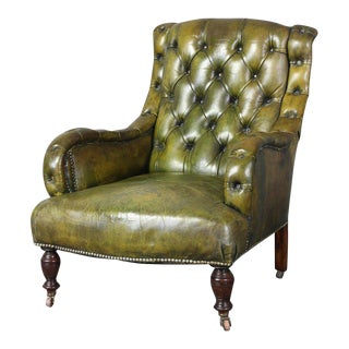English Leather Library Chair