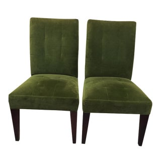 Lee Industries Green Velvet Parsons Chairs - Pair