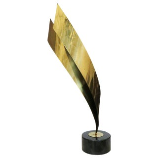 Abstract Brass Table Sculpture by Curtis Jere 1984