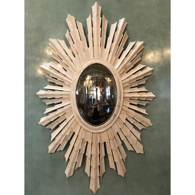 Italian Bone Sunburst Mirror with Convex Glass - Image 2 of 5