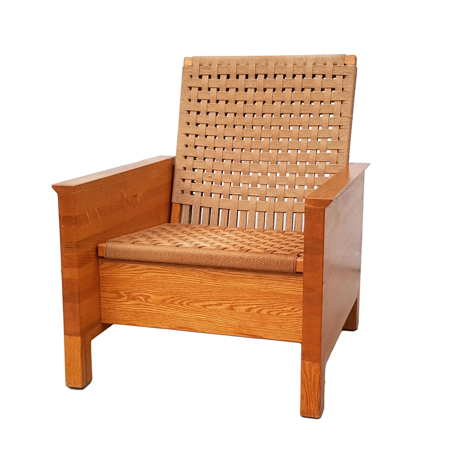 Mid Century Oak Butcher Block Amp Jute Rope Chair Chairish