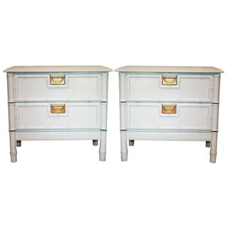 Vintage White Faux-Bamboo Nightstands - a Pair