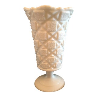 "Traditional Westmoreland Milk Glass 9 1/4"" Footed Vase"