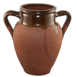 Rug & Relic Vintage Brown Glaze Earthenware Vase