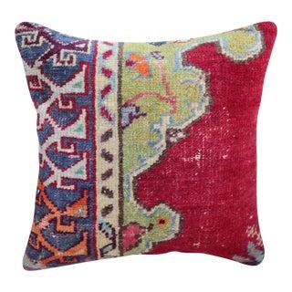 Vintage Turkish Red Kilim Throw Pillow