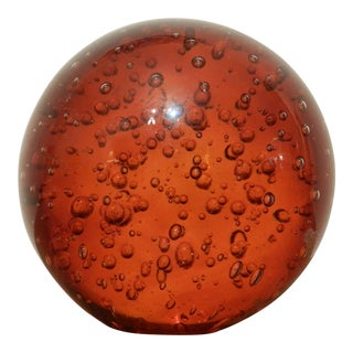 Oversized Amber Glass Bubble Paper Weight