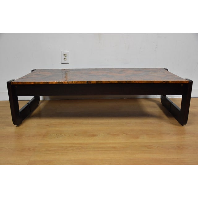 Lafer Brazilian Rosewood and Copper Coffee Table - Image 6 of 11