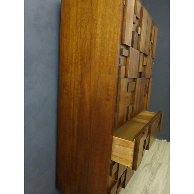 "Mid-Century Lane Brutalist ""Mosaic"" Highboy Bureau - Image 5 of 8"
