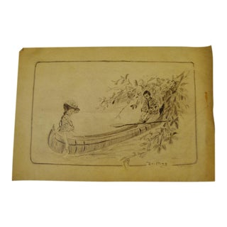 Original Artist Signed Victorian Pencil Sketching of Courting Couple