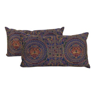 Asian Embroidered Floral Butterfly Pillows - A Pair