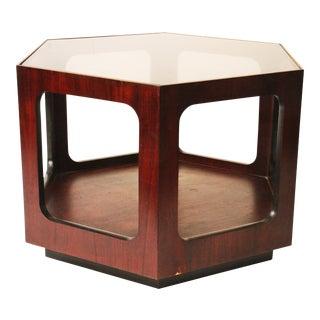 Lane Mid-Century Glass Top Hexagon Table
