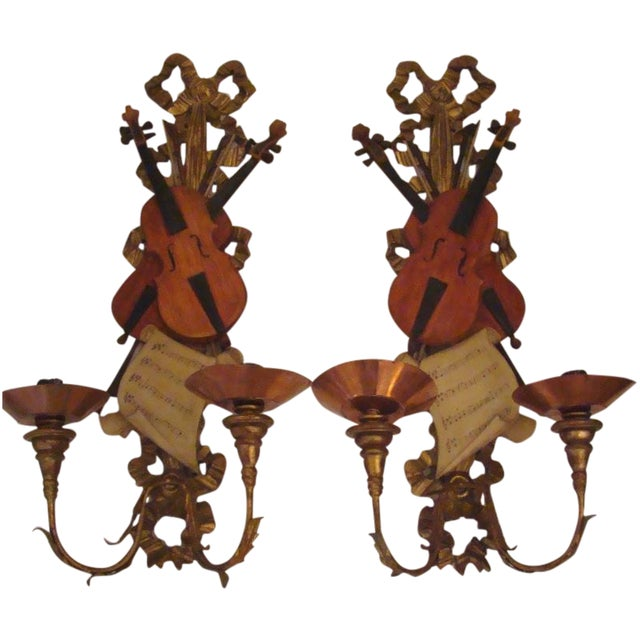 Italian Violin Sconces - Pair - Image 1 of 11