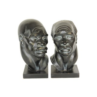 Fred Press African Head Busts - A Pair