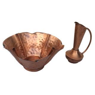 Copper Bread Bowl and Oil Cruet Set - A Pair