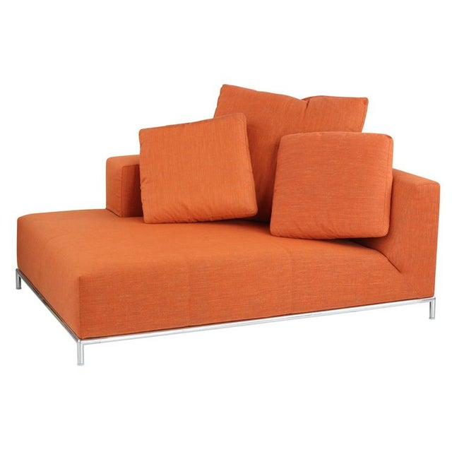 contemporary orange chaise lounge chairish