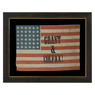 36 STARS, MADE FOR THE 1868 PRESIDENTIAL CAMPAIGN OF ULYSSES S. GRANT & SCHUYLER COLFAX, ONE-OF-A-KIND AMONG KNOWN EXAMPLES