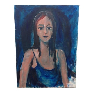 "Abstract ""Blue Girl"" Acrylic on Canvas Portrait Painting"