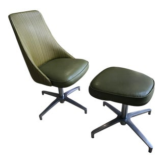 Chromcraft Swivel Chair & Ottoman