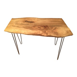 Wood Entry Table With Hairpin Legs