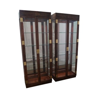 Henredon Campaign Lighted Curio Cabinets - Pair