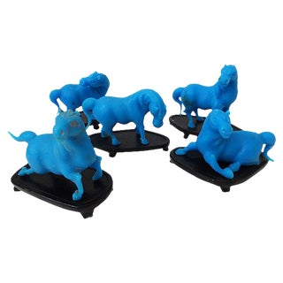 Peking Glass Turquoise Horses, Set of 5
