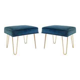 Montage Petite Brass Hairpin Ottomans in Teal Velvet - Pair