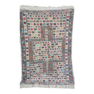 Moroccan White Oued Zem Cotton Area Rug - 4′10″ × 7′7″