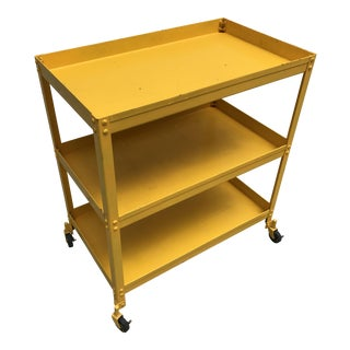 Industrial Factory Steel Yellow Rolling Bar Cart