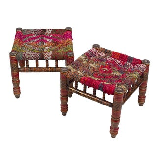Boho Chic Anglo-Indian Stools - A Pair