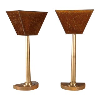 Machine Age Tall Bronze Lamps - a Pair